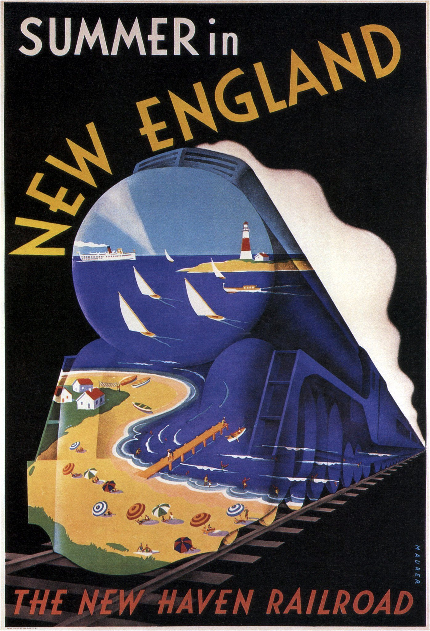 New York, New Haven and Hartford Railroad - artwork by Sascha Maurer - 1938