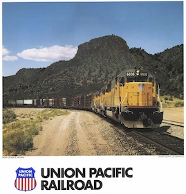 ..Vintage Size UNION PACIFIC 1983 Wall Calendar..New//Old//Stock never Used