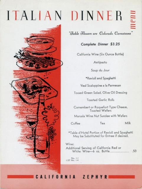 Italian dinner menu from 1957